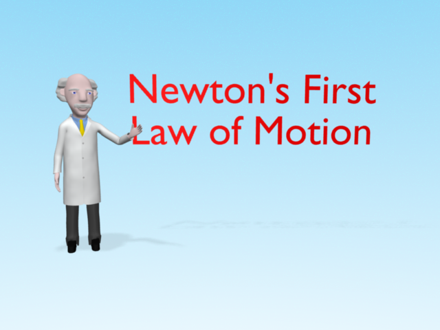 "Professor Mac points to the text ""Newton's First Law of Motion"""
