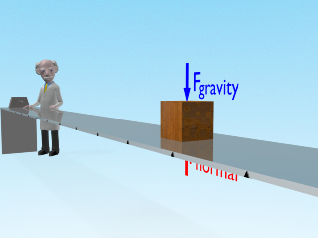 Professor Mac explains Newton's first law of motion as the block moves along the polished table surface with constant motion with only vertical forces acting on the block.