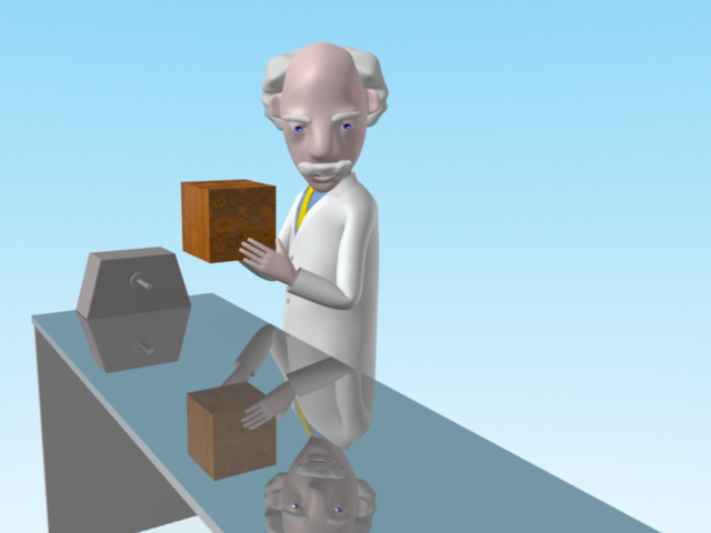 Professor Mac explains Newton's first law of motion while standing next to a polished table with a wooden block in his hands looking down at the frictionless surface of the table