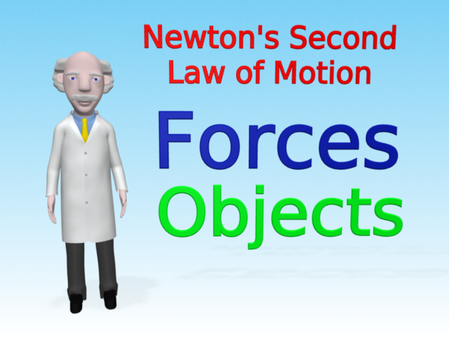 Mac is standing next to text which introduces Newton's second law of motion