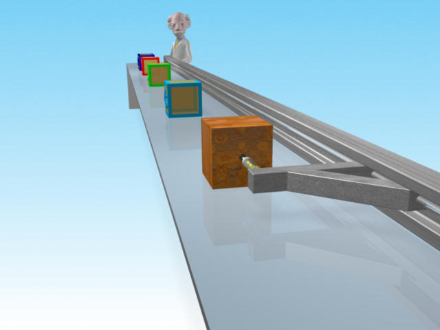 The small block accelerates along the surface towards the camera as it is pulled by the loading arm