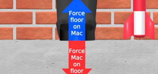 Professor Mac is standing on a concrete floor and a red and blue arrow shows the forces acting on him and the floor