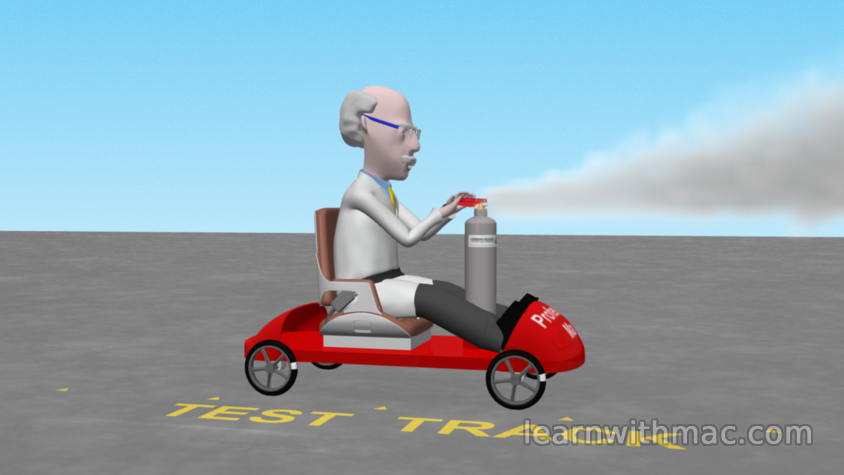 Professor Mac is sitting in his red kart which is accelerating rearwards as a cylinder of compressed CO2 is discharged creating a white cloud
