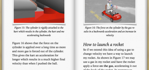 Pages from Professor Mac's ebook on Newton's third law of motion are shown with two images of the kart
