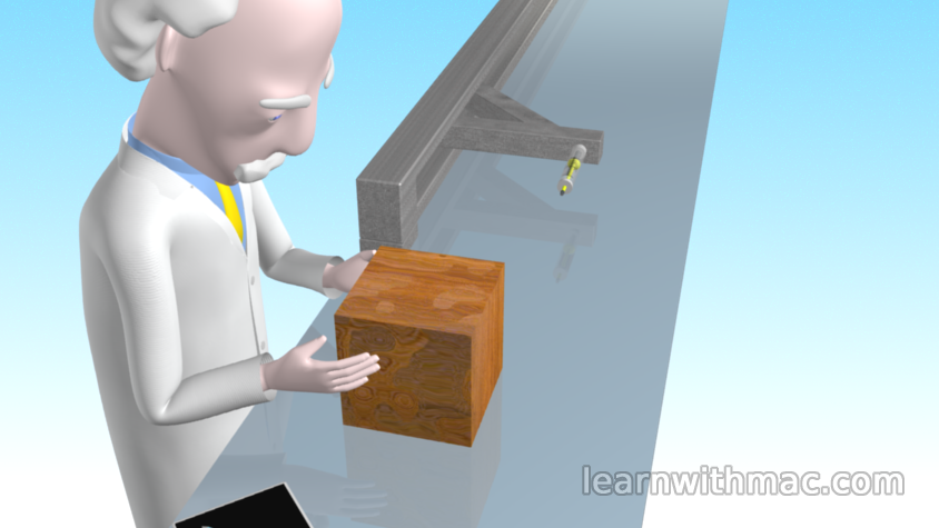 Professor Mac is examining a block of wood which is sitting on a reflective surface