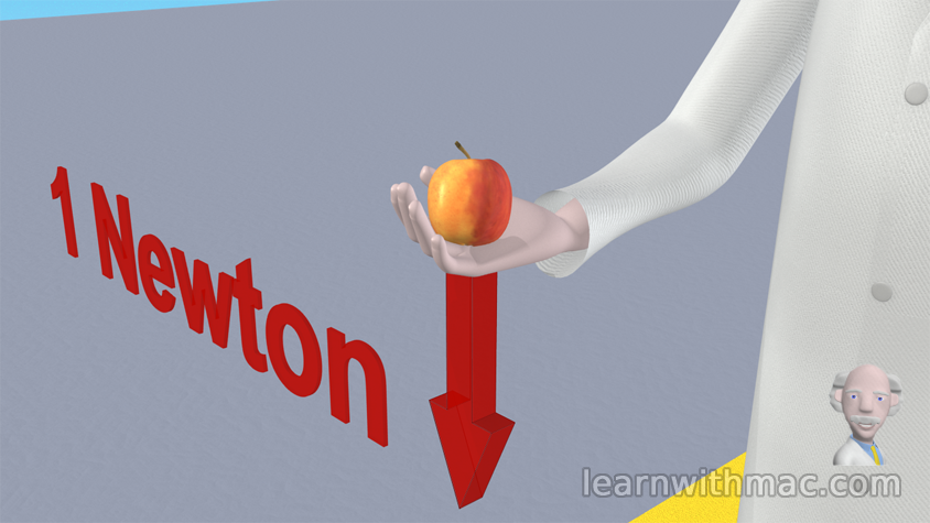 Professor Mac is holding an apple, with a vertically down arrow, showing the force due to the apple weight is approximately one newton