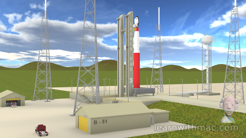 The red and white rocket stands at the launch pad surrounded by green fields fading to the hills in the background