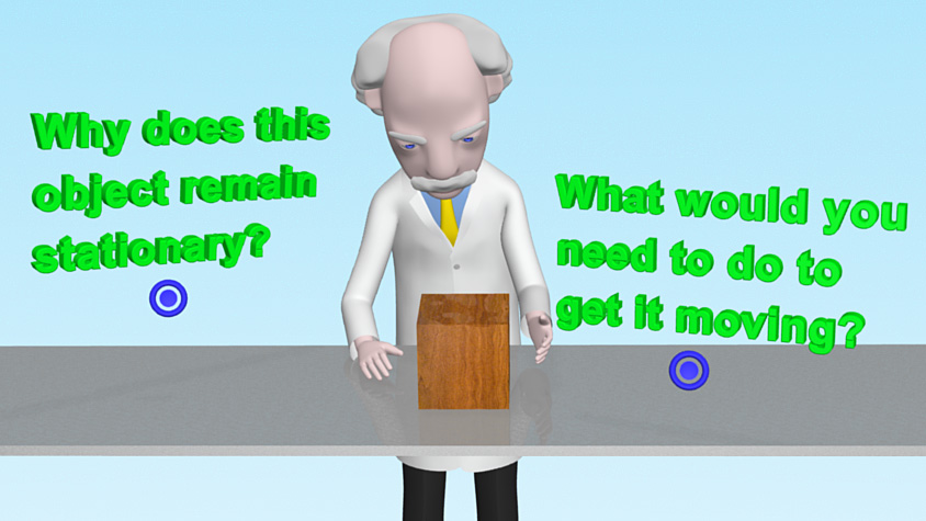 Professor Mac is standing by a table which has a block of wood stationary on it. Two questions in green are either side of him.