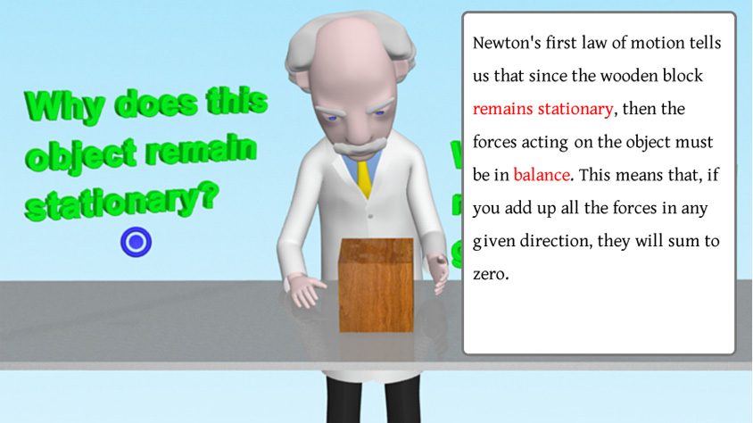 Professor Mac is standing by a table with a question to his left and the answer in a pop-up text box on his right.