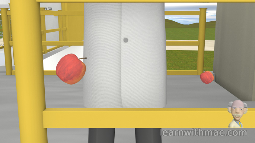 A large and a small red apple are falling to the ground.
