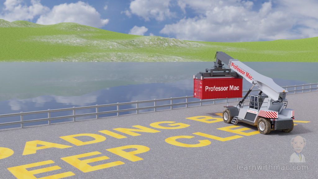 The model of Professor Mac's grey lifting vehicle is carrying a red shipping container towards the water