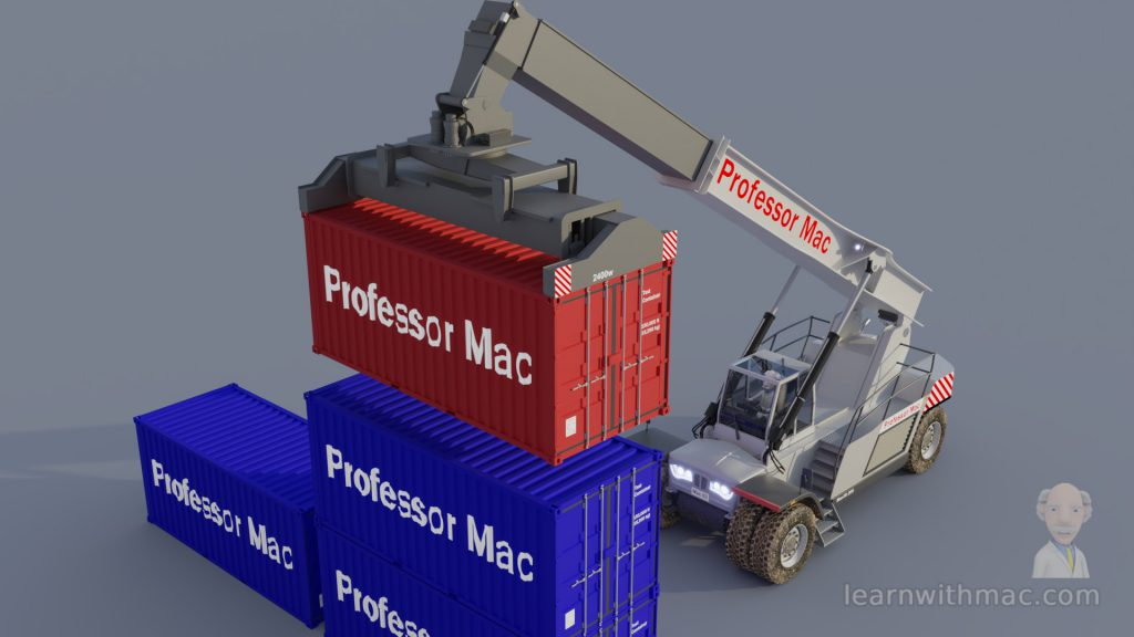 Professor Mac's lifting vehicle is stacking a red shipping container on top of blue shipping containers