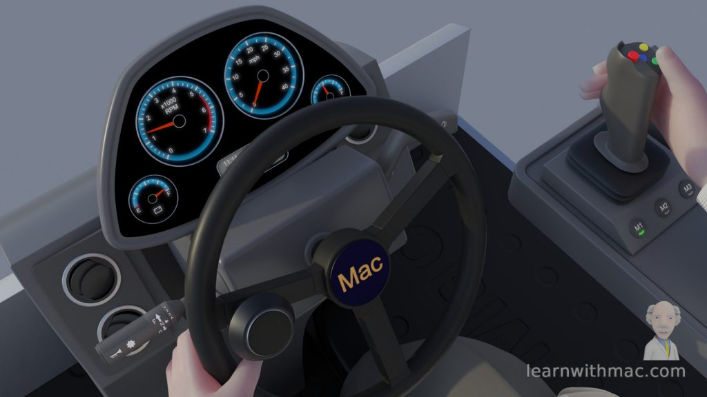 Professor Mac is holding a grey steering wheel with the blue dials of the dashboard lit up behind it